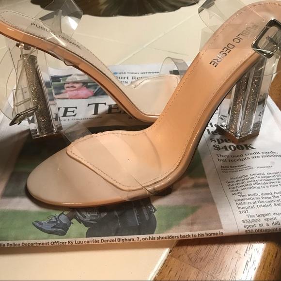 1199708f5a6 Glitter Perspex Heels NWT